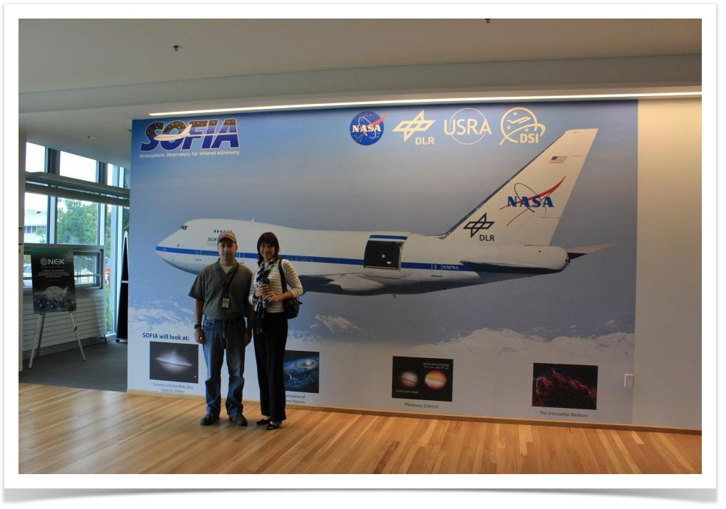 Scott Davis and Haritina Mogosanu at NASA AMES with SOFIA in the background